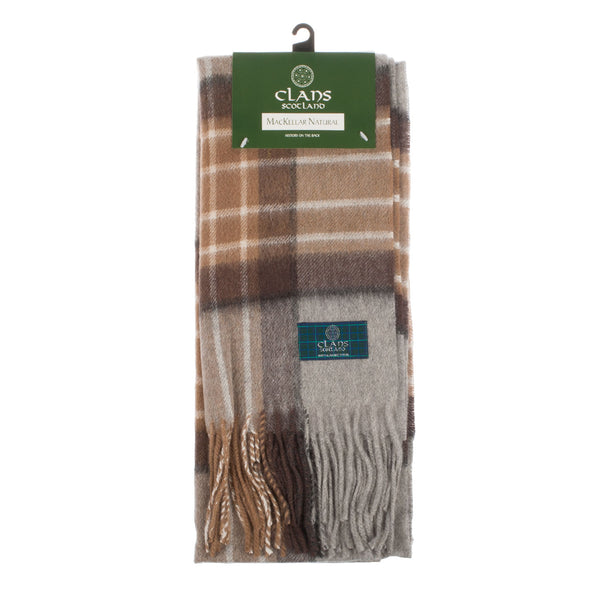Lambswool Scottish Tartan Clan Scarf Mackellar Natural