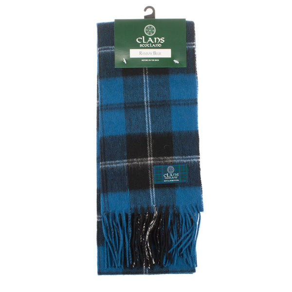 Lambswool Scottish Tartan Clan Scarf Ramsay Blue