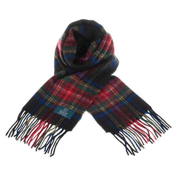 Lambswool Scottish Tartan Clan Scarf Stewart Black