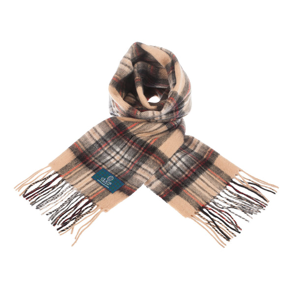 Lambswool Scottish Tartan Clan Scarf Stewart Camel