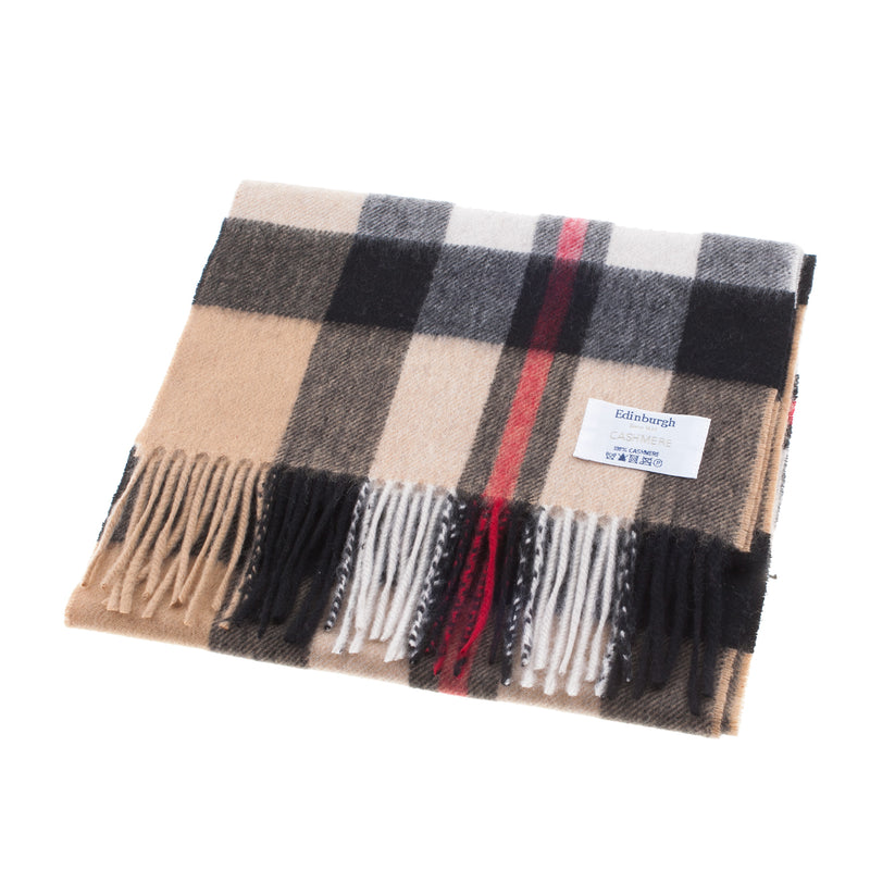 Edinburgh 100% Cashmere Unisex Scottish Tartan Multicolor Scarf Exploded Thomson Camel