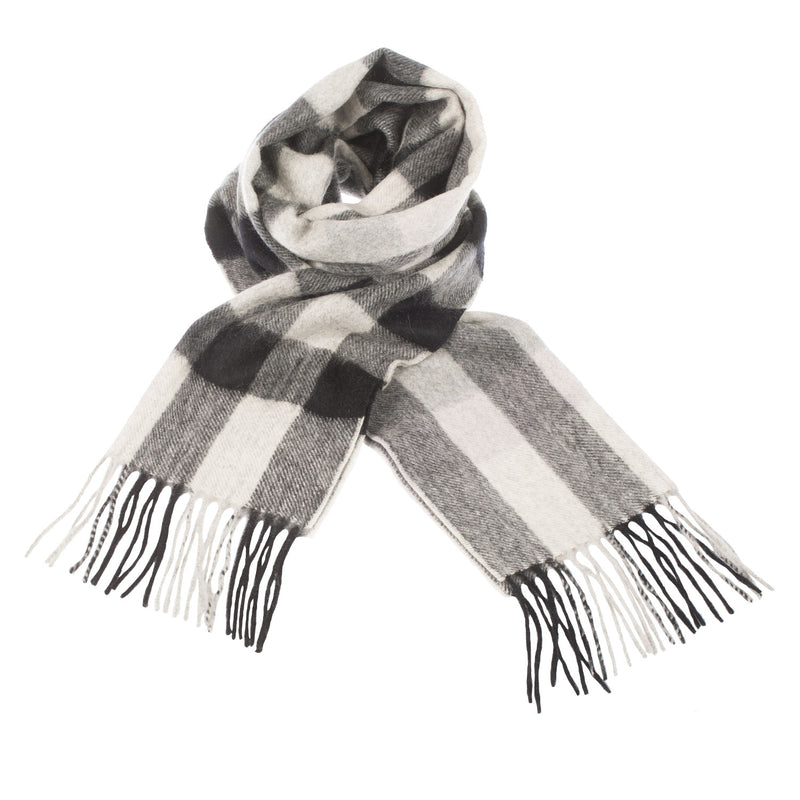 Edinburgh 100% Cashmere Unisex Scottish Tartan Multicolor Scarf Giant Chequer - Black/Oyster