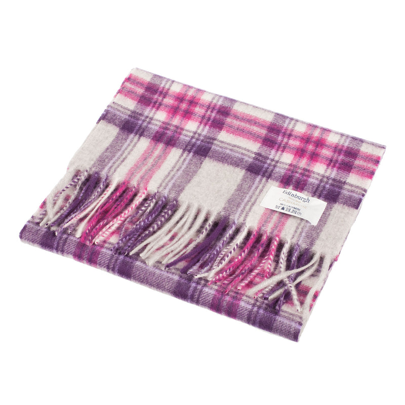 Edinburgh 100% Cashmere Unisex Scottish Tartan Multicolor Scarf Stewart Purple