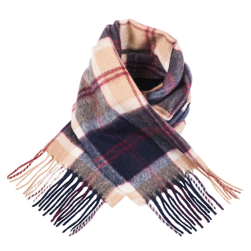Edinburgh 100% Lambswool Scottish Tartan Multicolour Scarf Bannockbane Navy