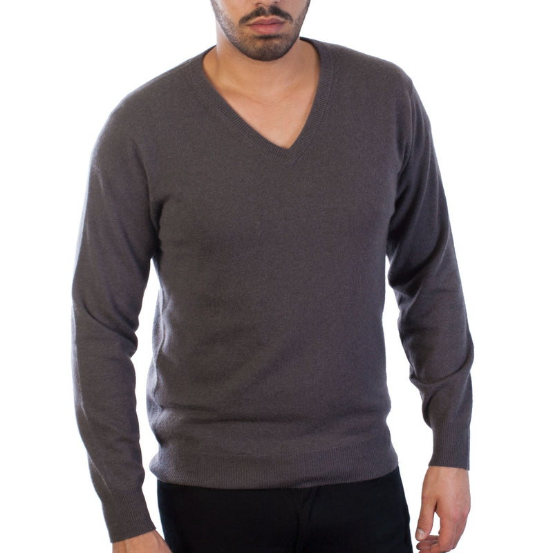 100% Cashmere V Neck Plain Men's Jumper Gunpowder