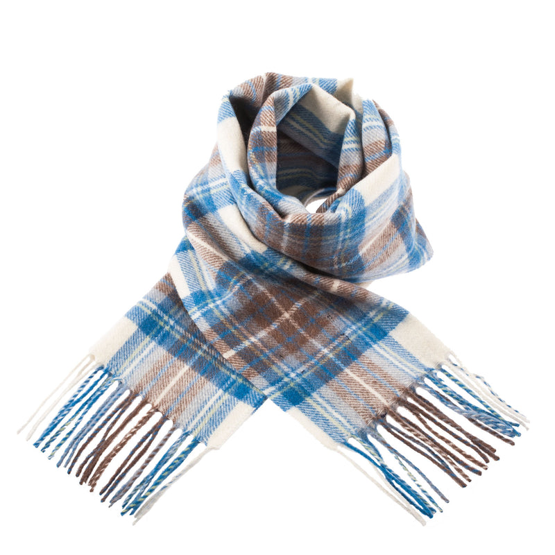 Edinburgh 100% Cashmere Blue Label Scottish Tartan Luxury Scarves Stewart Muted Blue