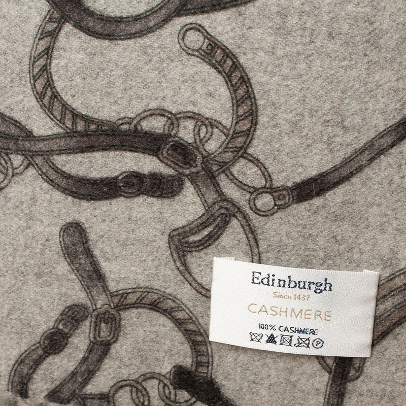 Edinburgh 100% Cashmere Chain Print Double Sided Stole Pewter/Grey / Chain Print