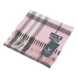 Lyle & Scott 100% Cashmere Scottish Tartan Scarf Lge Off Centre Thomson - Lt Pink