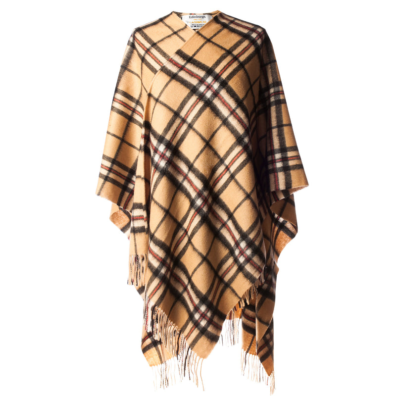 Ladies Tartan Cashmere Cape Thomson Camel (One Size)