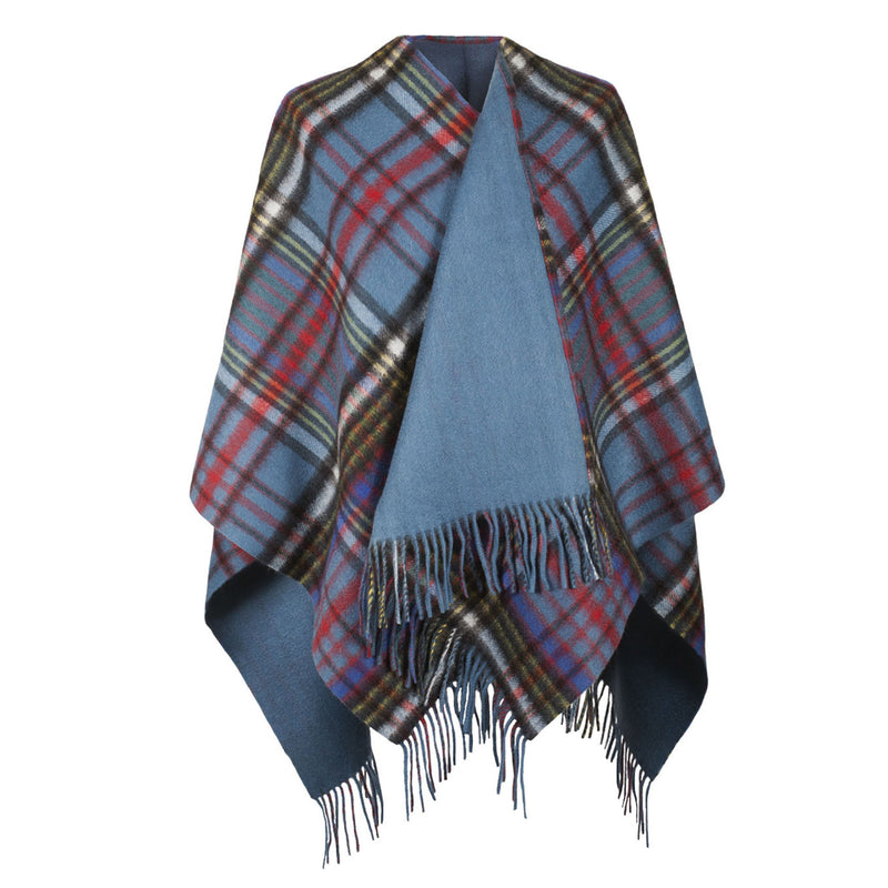 Ladies Cashmere Reversible Big Check Mini Cape Anderson/Blue