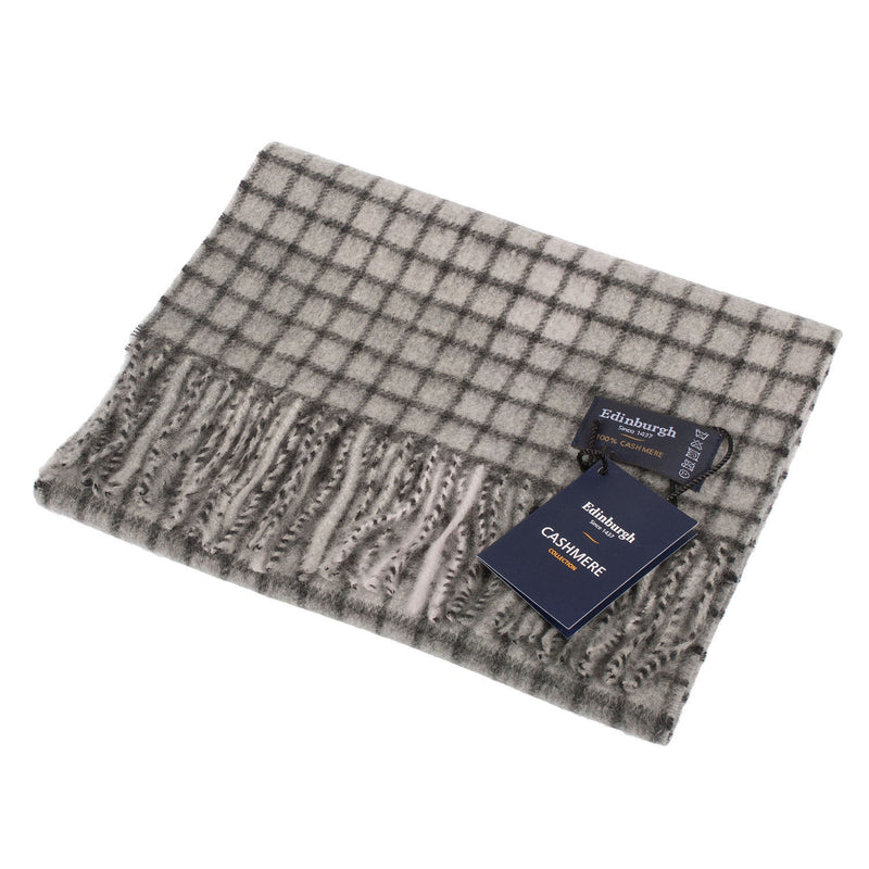 New Blue Label Cashmere Scarves Highlight Chequer - Black/Grey