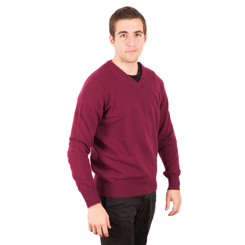 Hawick Knitwear Men's V-Neck Plain Cashmere Jumper Boysenberry