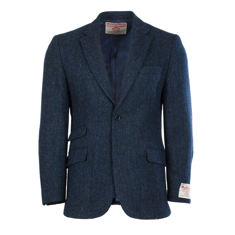 Harris Harris Tweed Jacket Gents Blue Herringbone