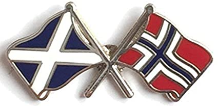 Saltire & Norway Crossed Flags Lapel Pin