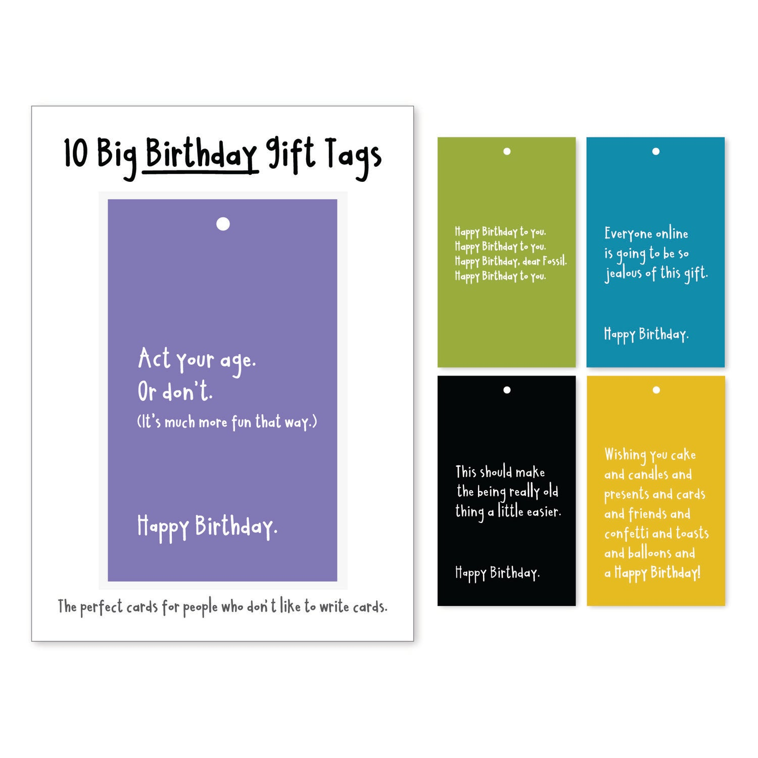 Birthday Big Gift Tags (set of 10)