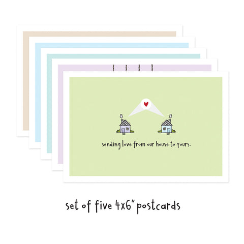 Set of 5 Social Distancing Postcards (mixed)