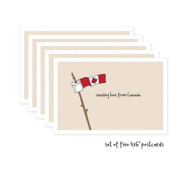 Set of 5 Sending Love From Canada Social Distancing Postcards