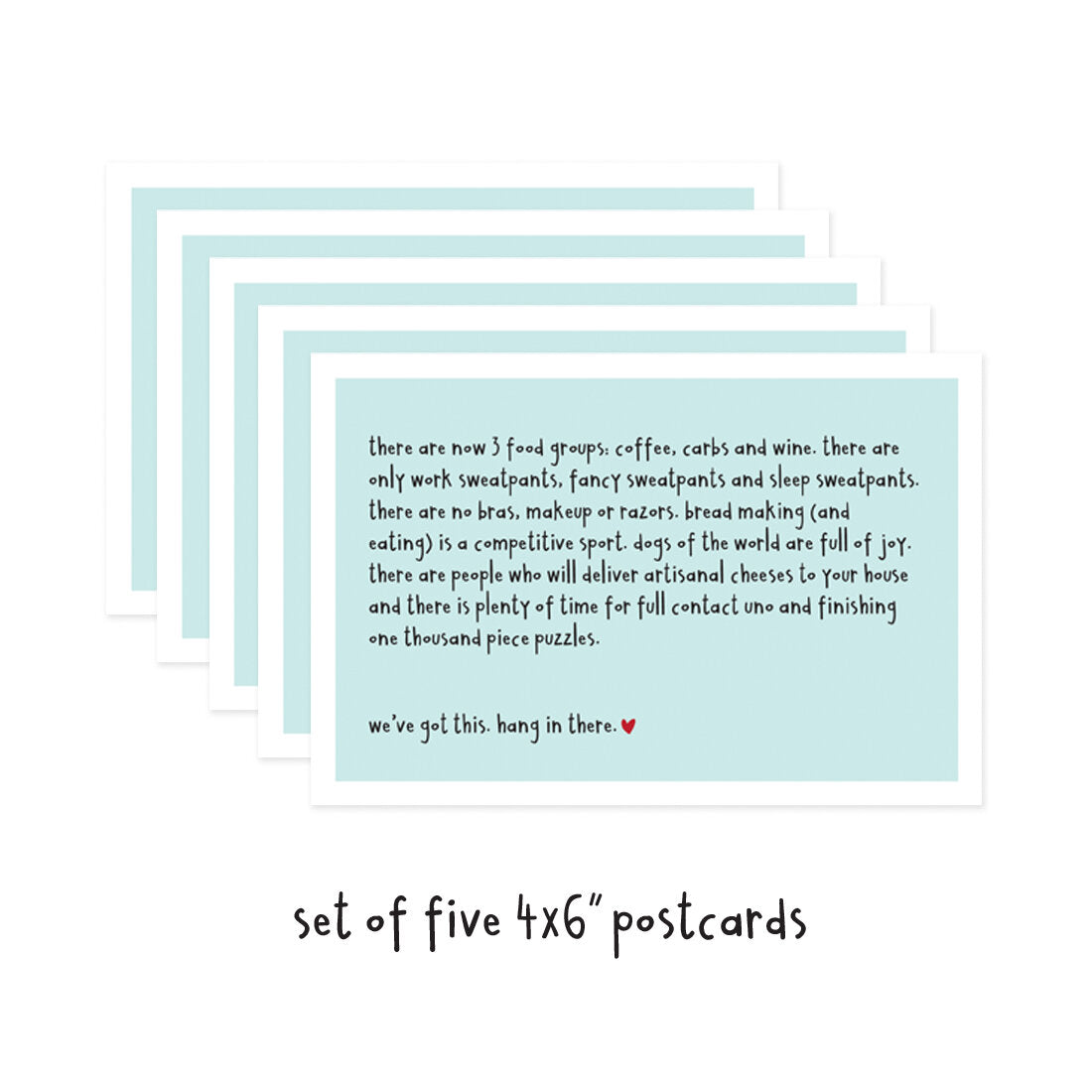Set of 5 We've Got This Hang In There Social Distancing Postcards