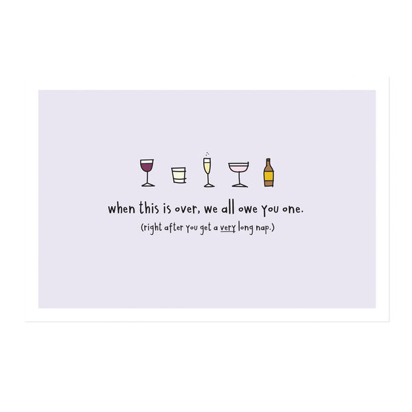 Set of 5 We Owe You Drinks Social Distancing Postcards