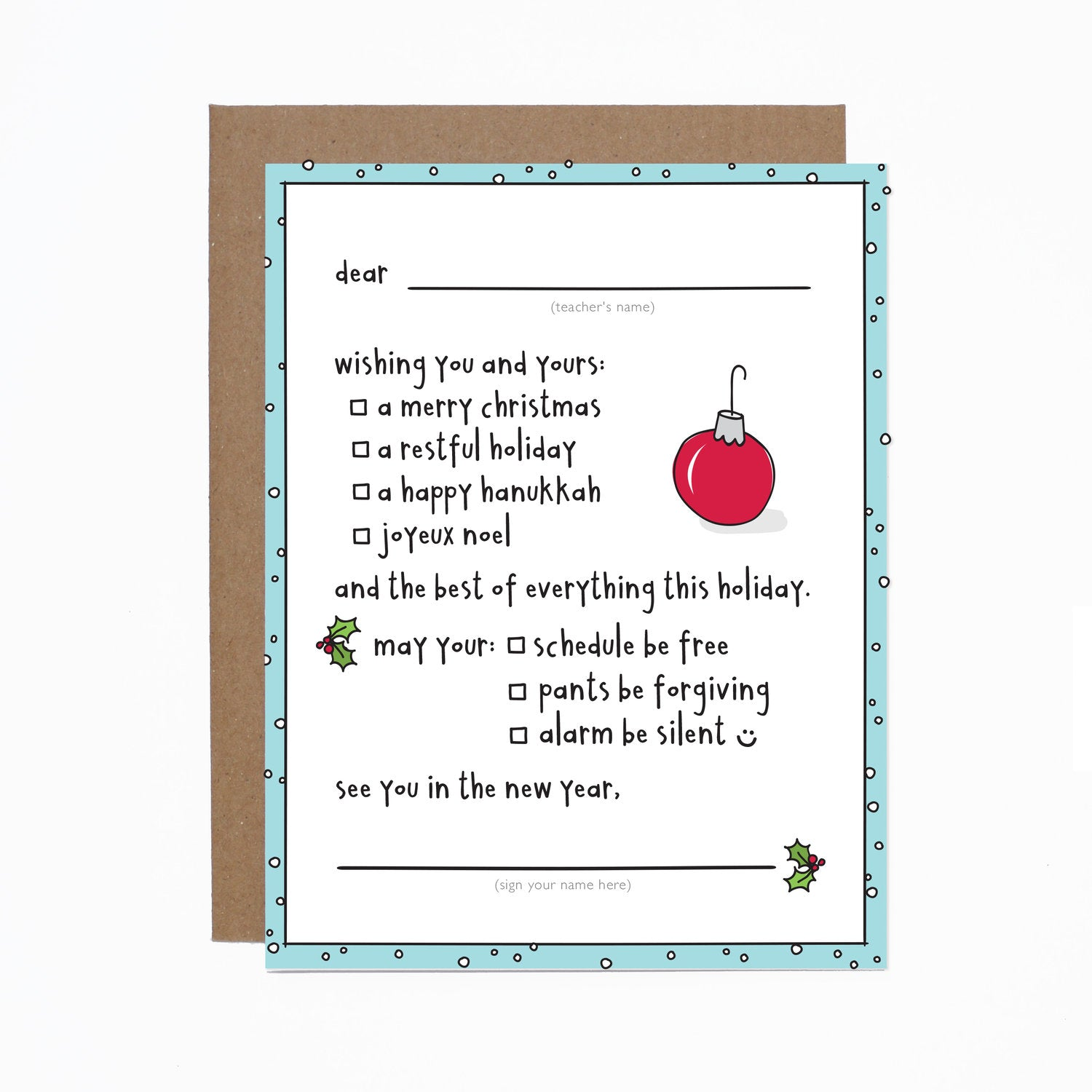 Fill In the Blank Teacher Happy Holiday card