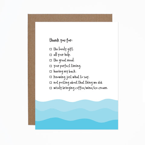 Thank You Checklist card