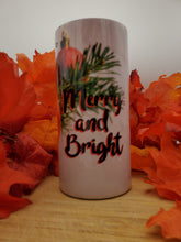 Load image into Gallery viewer, Merry and Bright Christmas 16 Ounce Insulated Skinny Tumbler with Metal Straw & Personalization Option