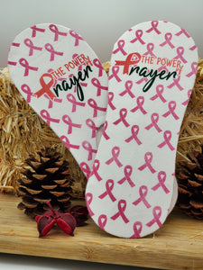 Power of Prayer No Show Cancer Awareness Socks - Double Sided Print - Can be personalized and custom made