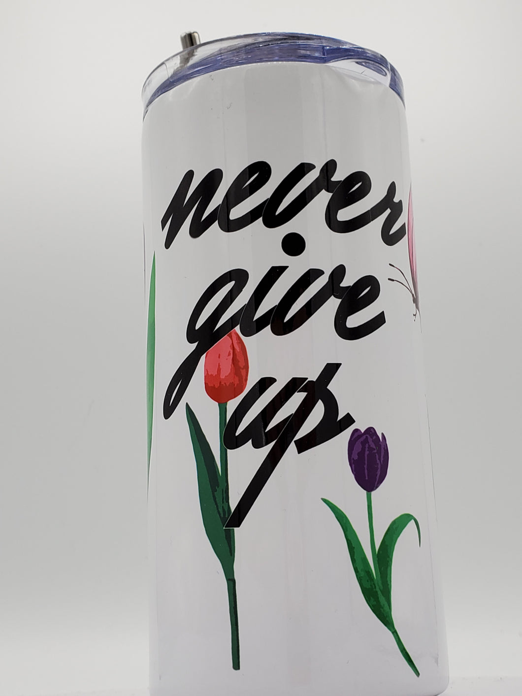 Limited Edition*** Never Give Up 16 Ounce Insulated Skinny Tumbler with Metal Straw & Personalization Option
