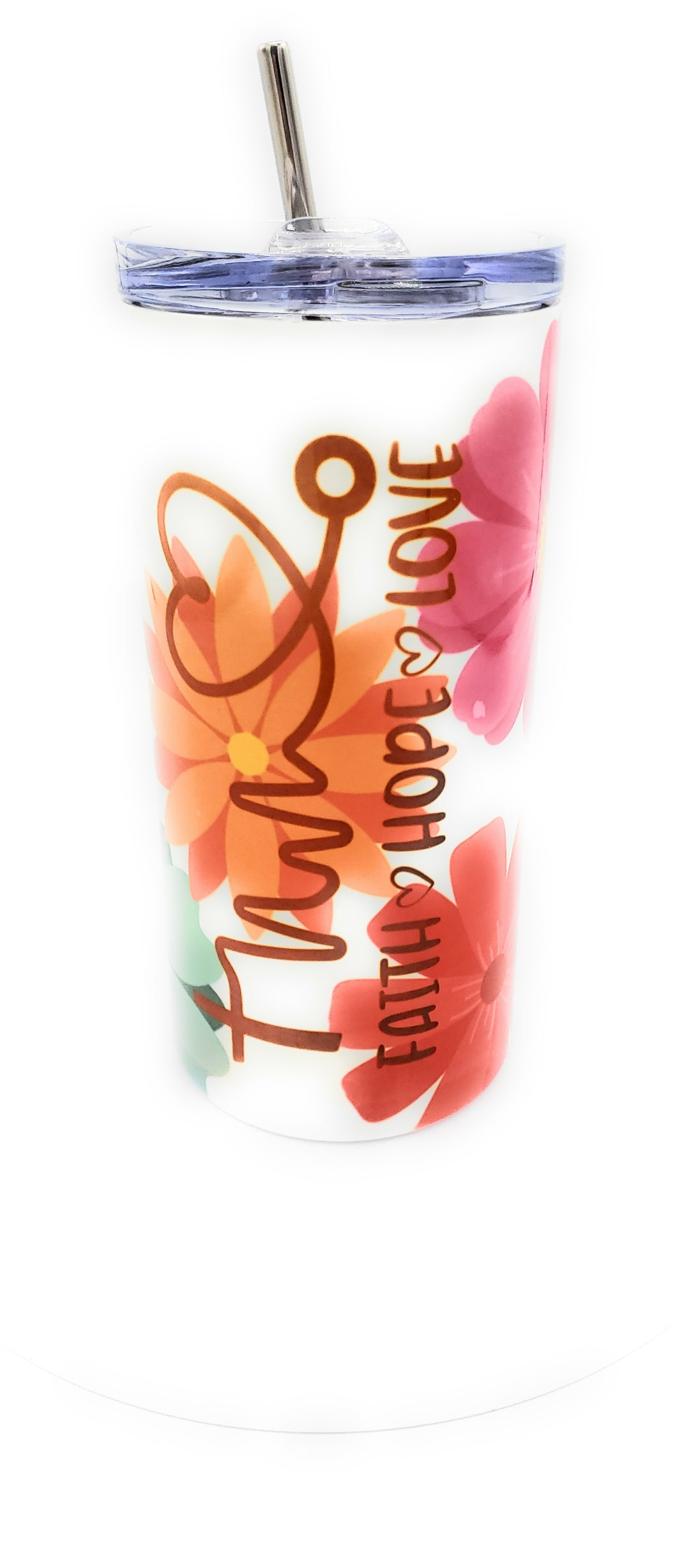 Limited Edition*** Hope Faith Love 16 Ounce Insulated Skinny Tumbler with Metal Straw & Personalization Option