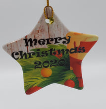 Load image into Gallery viewer, 3 Inch Fine Porcelain Star Shaped Ornament - Perfect for Christmas, Decoration, Photo Gift