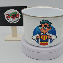 Load image into Gallery viewer, Custom Printed Enamel Bowl with Plastic Lid