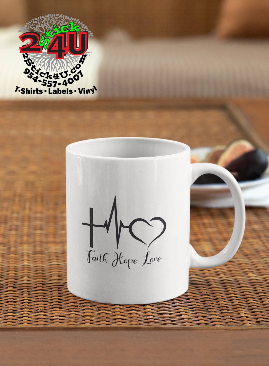 Faith*Hope*Love Coffee Mug - Home of Buy 3, Get 1 Free. Long Lasting Custom Designed Coffee Mugs for Business and Pleasure. Perfect for Christmas, Housewarming, Wedding Party gifts