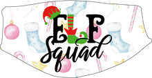 Load image into Gallery viewer, Elf Squad Pastel Face Cover - Custom With Your Name, 2 layer pocket mask with filter, adjustable ear clip, personalized & washable, reusable