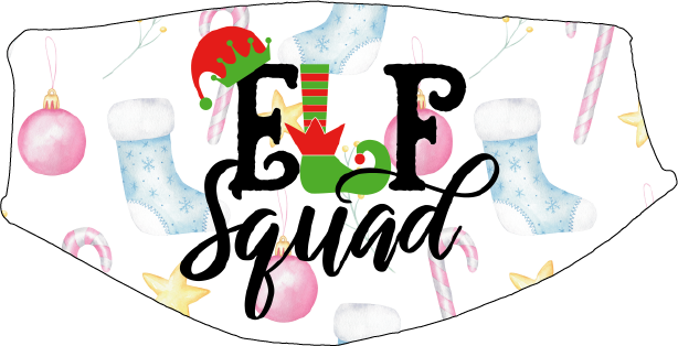 Elf Squad Pastel Face Cover - Custom With Your Name, 2 layer pocket mask with filter, adjustable ear clip, personalized & washable, reusable