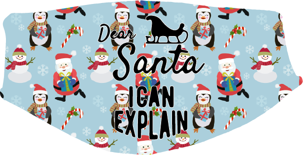 Christmas - Santa, I Can Explain Face Cover- Custom With Your Name, 2 layer pocket mask with filter, adjustable ear clip, personalized & washable, reusable