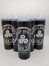 Load image into Gallery viewer, Personalized Mickey Byrne's 20 Ounce Stainless Steel Logo Tumbler with Lid and Metal Straw