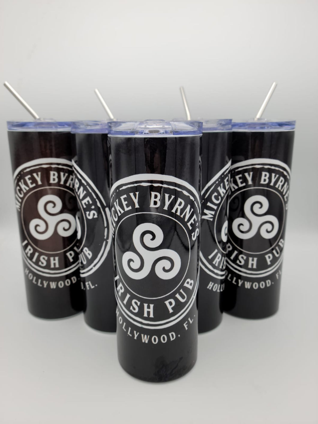Personalized Mickey Byrne's 20 Ounce Stainless Steel Logo Tumbler with Lid and Metal Straw