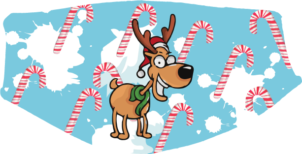 Christmas - Candy Cane Reindeer Face Cover- Custom With Your Name, 2 layer pocket mask with filter, adjustable ear clip, personalized & washable, reusable