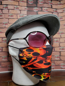 Fire Skull Face Cover, Carbon Filter, Adjustable Ear Clips, 2 Layer Mask, Breathable & Washable, Personalized Available, Coffee Mug Option