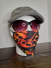 Load image into Gallery viewer, Fire Skull Face Cover, Carbon Filter, Adjustable Ear Clips, 2 Layer Mask, Breathable & Washable, Personalized Available, Coffee Mug Option
