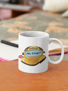 School Bus Driver Coffee Mug, Personalized with your name or Googly Eyes, Same Image on Both Side, Choose Your font & Font Color, Your Name