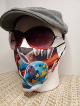 Load image into Gallery viewer, Bowling Strikes Face Mask, Custom With Your Name, 2 layer pocket mask with filter, adjustable ear clip, personalized & washable, reusable