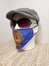 Load image into Gallery viewer, Hamsa face Cover , on Israeli blue background, metallic gold printed design, pocket filter face mask, adjustable ear straps with clips