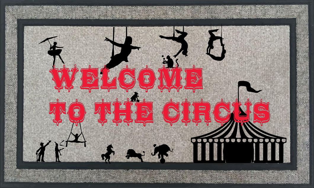 Personalized Welcome to the Circus Mat, 18 x 30 inch Farmhouse Decor Custom Mat. Housewarming Wedding Gift. Can Be Custom Made