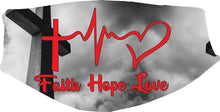 Cargar imagen en el visor de la galería, Faith Hope Love Face Cover, Custom With Your Name, 2 layer pocket Cover with filter, adjustable ear clip, personalized & washable, reusable