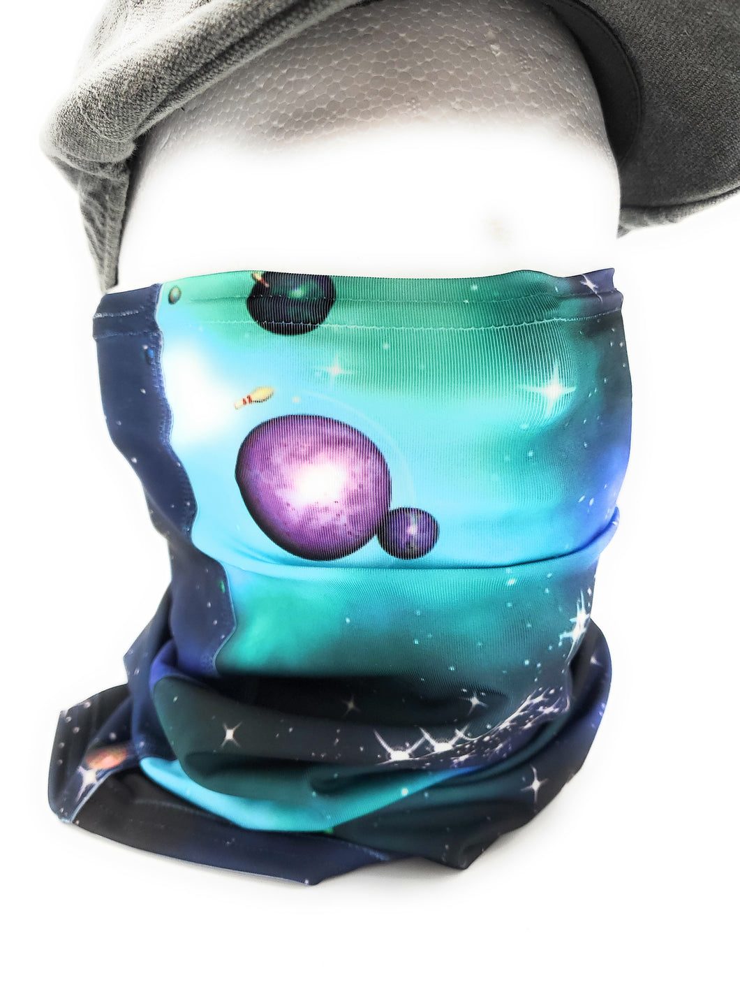 Neck Gaiter, Space Bowling Theme, Comfortable Face Cover, Breathable, Can be Personalization Optional - Full or Half Size Available