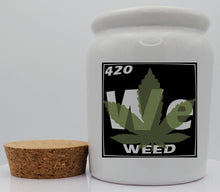 Load image into Gallery viewer, Personalized 11 Ounce White Ceramic Stash Jar With Cork Lid - Periodic Table Design - 420 Sweet Leaf Images - Cork Lid - Custom Designed