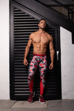 Load image into Gallery viewer, Men's Leggings Red/Black Cammo