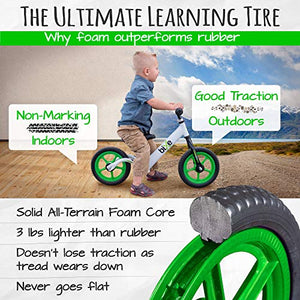 "Green (4LBS) Aluminum Balance Bike for Kids and Toddlers - 12"" No Pedal Sport Training Bicycle for Children Ages 3,4,5"