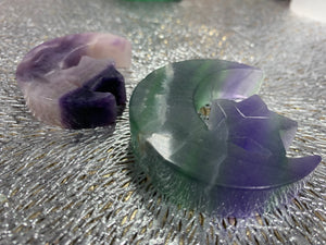 Fluorite Moons with Star Carvings